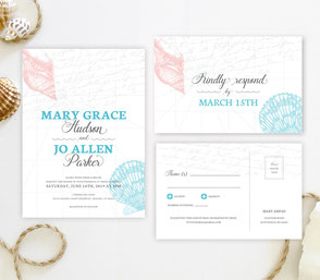 Seashell theme wedding invitations