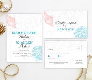 Seashell theme wedding invitations
