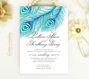feather wedding invitations | peacock wedding