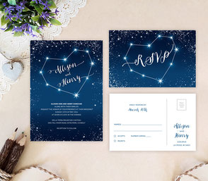 Star wedding invitations | heart themed