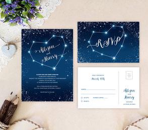 Star wedding invitations   heart themed