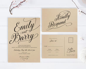 Brown wedding invitations + RSVP postcards