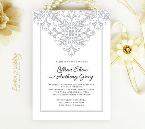 Silver and white wedding invitation