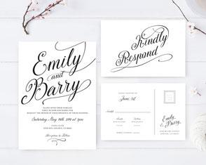 Classic weddinginvitations + RSVP postcards