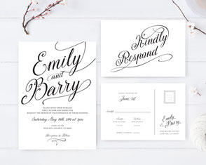 Classic wedding invitations + RSVP postcards