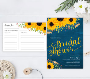 Sunflower Bridal shower invitations and recipe cards