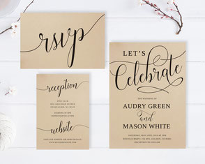Let's celebrate wedding invitation cards