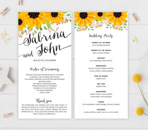 Sunflower Wedding Ceremony Programs