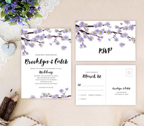 Spring purple wedding invitation sets