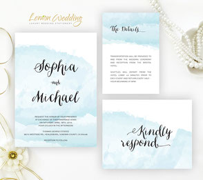 Watercolor wedding invitation sets printed on white shimmer cardstock