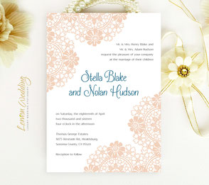 Blush and navy wedding invitation