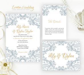Silver and gold lace wedding invitations