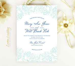 seashell wedding invitations | nautical themed