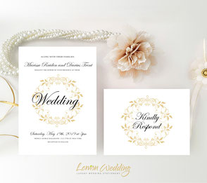 gold wreath wedding invitation