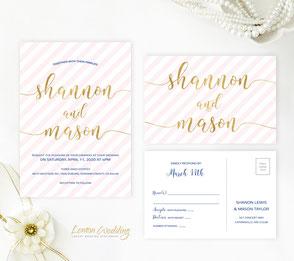 Striped wedding invitations