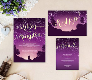 gold and purple wedding invitations sets