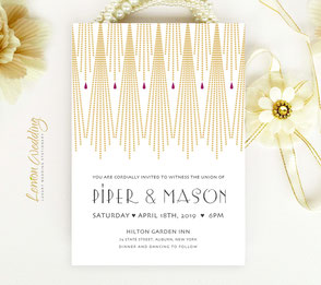 gatsby  gold wedding invitations