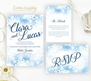 Snowflake wedding invites