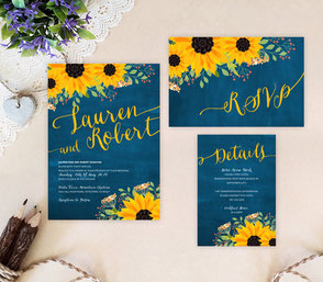 yellow and blue wedding invitations | rustic wedding