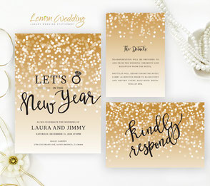 New year's eve wedding invitations sets