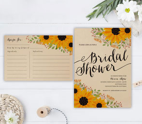 Rustic Sunflower Bridal Showers Invitations