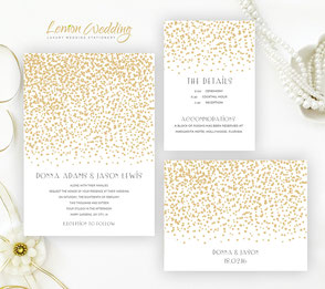 sparkly wedding invitations | Gold and white