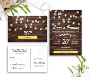 Simple rustic wedding invites
