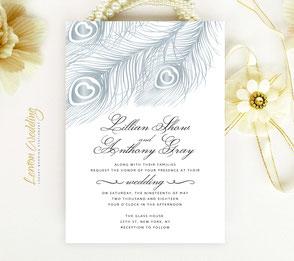 Peacock themed wedding invitations