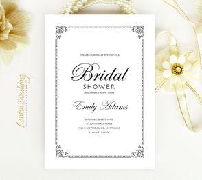 Black and white bridal shower invitations