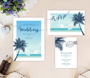 Beach themed wedding invitations packs