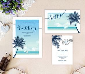Beach themed wedding invitations packs