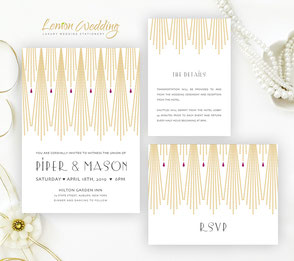 Art deco style gold wedding invitations