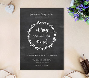 Chalkboard wedding invites