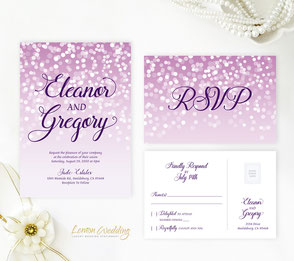 Purple wedding invitations with white confetti