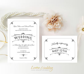 Retro style wedding invites