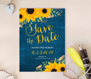 sunflower save the date invitations