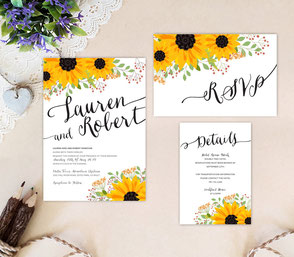 Sunflower themed wedding invitations rustic