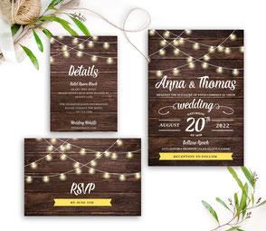 String Light Wedding Invitations