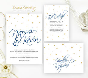 Navy and gold wedding invitations sets