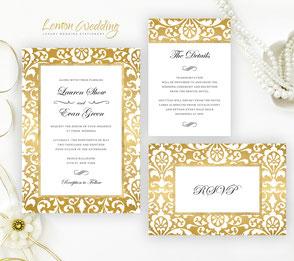 gold theme wedding invitations