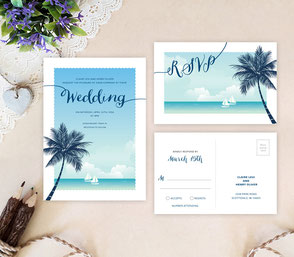 Beach wedding invitations with palm tree