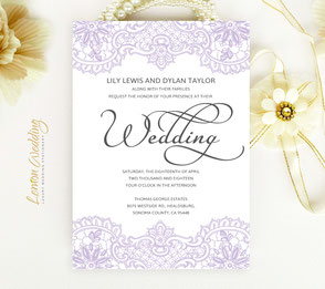 Purple lace wedding invitation cards