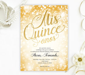 Gold Quinceanera Invitations
