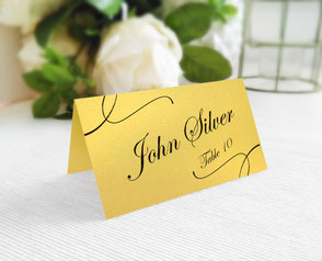 Gold paper wedding name cards