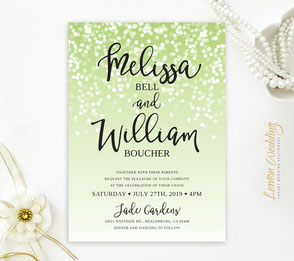 Light green wedding invitations