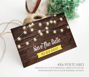 String Lights Save the Date Postcards