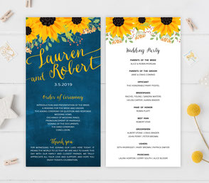 Rustic wedding programs