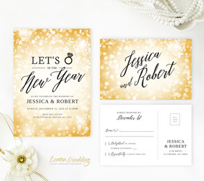New Year's Eve wedding invitation with RSVP