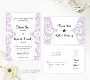 Purple wedding invitations with elegant lace