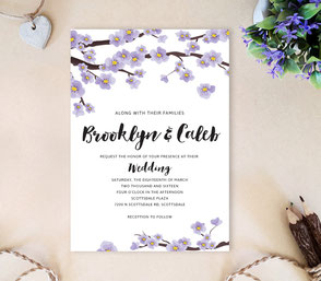 Purple sakura wedding invitations